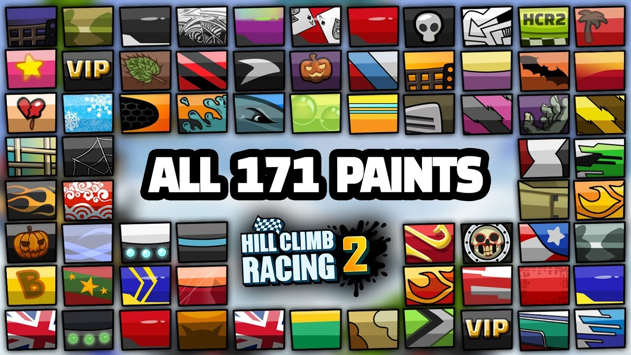 MAX AMOUNT OF legendary paints HILL CLIMB RACING 2